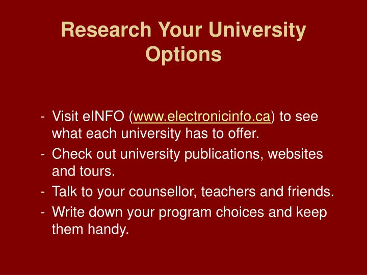Research Your University Options