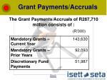 grant payments accruals