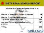 isett etqa status report