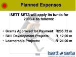 planned expenses