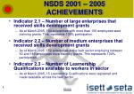 nsds 2001 2005 achievements1