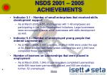 nsds 2001 2005 achievements2