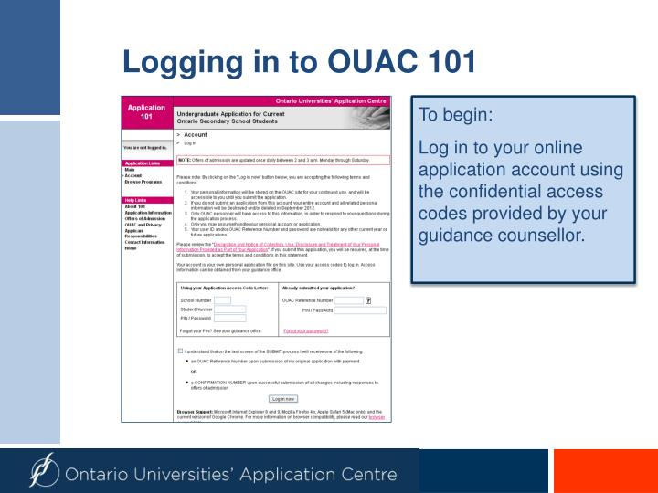 Logging in to OUAC 101