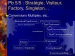 pb 5 5 strat gie visiteur factory singleton