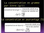 la concentration en gramme par litre g l