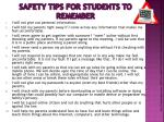 safety tips for students to remember
