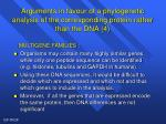 arguments in favour of a phylogenetic analysis of the corresponding protein rather than the dna 4