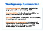 workgroup summaries