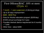 first offense bac 10 or more 21yrs