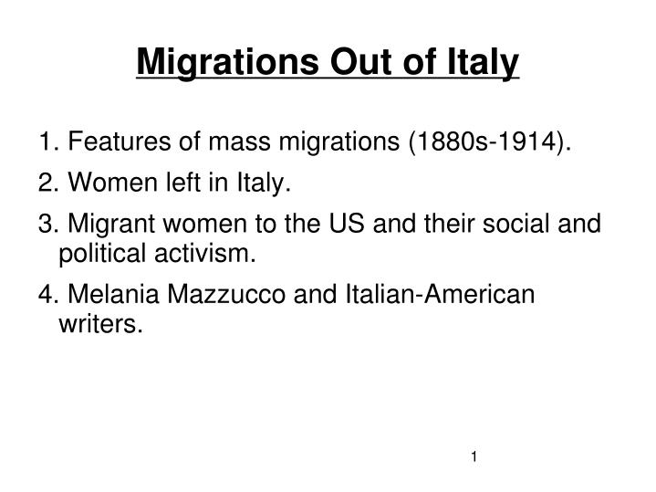 migrations out of italy n.