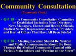 community consultation comments cont