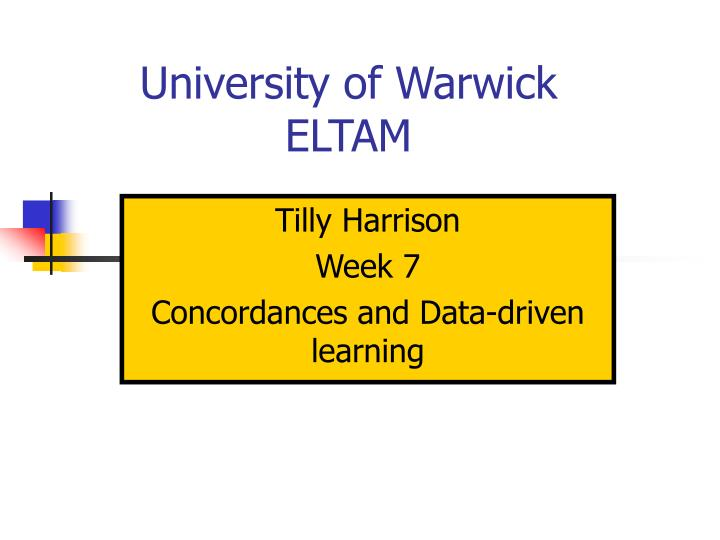 university of warwick eltam n.