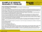 example of website readability problem