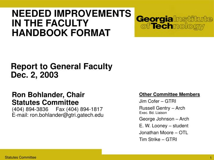 needed improvements in the faculty handbook format n.