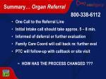 summary organ referral