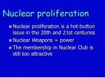 nuclear proliferation