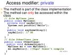 access modifier private