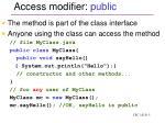 access modifier public