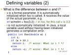 defining variables 2