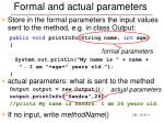 formal and actual parameters