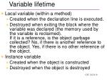 variable lifetime