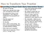how to transform your practice according to royal oak s early intervention team