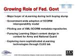 growing role of fed govt