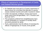 effects of hypergravity on development of cardic and skeletal muscles growth