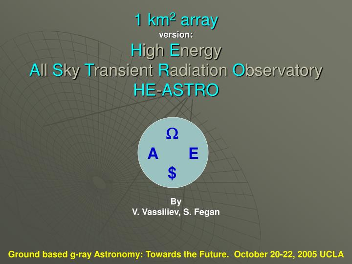 1 km 2 array version h igh e nergy a ll s ky t ransient r adiation o bservatory he astro n.