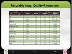 favorable water quality parameters