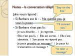 notes la conversation t l phonique p 211