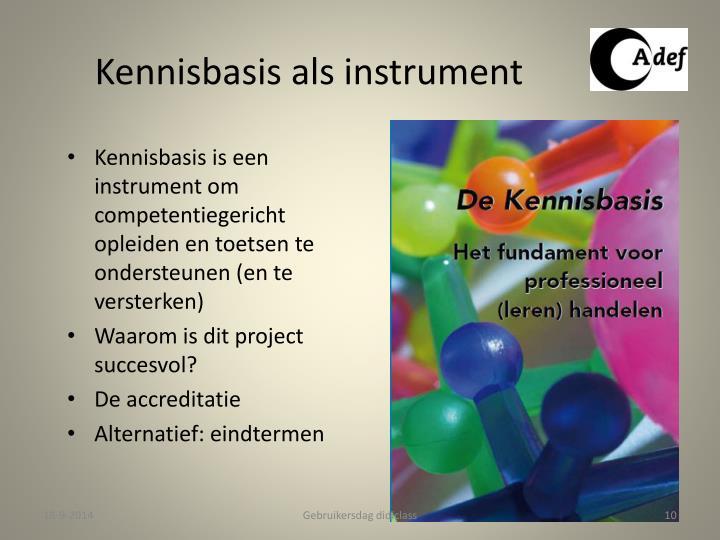 Kennisbasis als instrument