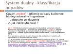 system dualny klasyfikacja odpad w1