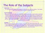 the role of the subjects