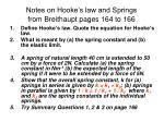 notes on hooke s law and springs from breithaupt pages 164 to 166