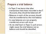 prepare a trial balance