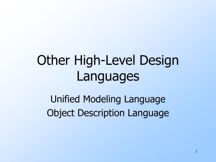 other high level design languages n.