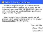 letter 1 look for an agent1