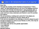 letter 2 an introduction letter of an exporter