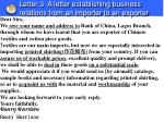 letter 3 a letter establishing business relations from an importer to an exporter