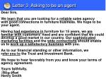 letter 3 asking to be an agent
