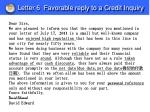 letter 6 favorable reply to a credit inquiry
