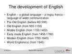 the development of english