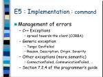 e5 i mplementation command4