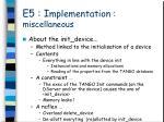 e5 i mplementation miscellaneous