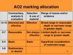 ao2 marking allocation
