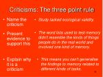 criticisms the three point rule