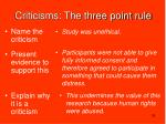 criticisms the three point rule1