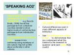 speaking ao25