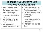 to make ao2 effective use the ao2 vocabulary